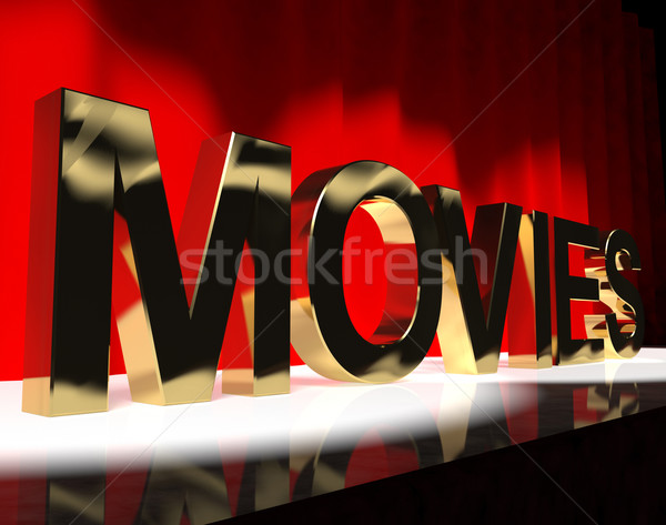 Movies Word On Stage Showing Cinema And Hollywood Stock photo © stuartmiles