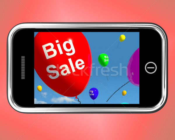 Big Sale Balloons On Mobile Phone Shows Promotions And Reduction Stock photo © stuartmiles