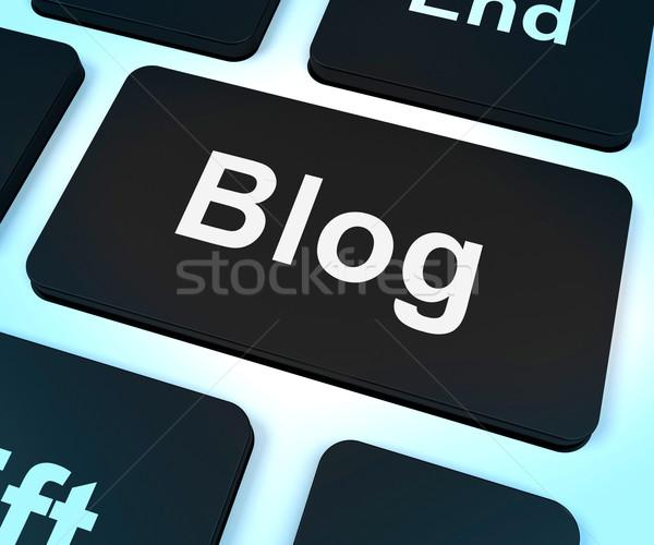 Blog ordenador clave blogger sitio web Foto stock © stuartmiles