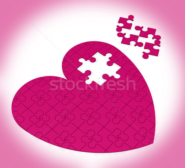 Unfinished Heart Puzzle Showing Happiness Stock photo © stuartmiles