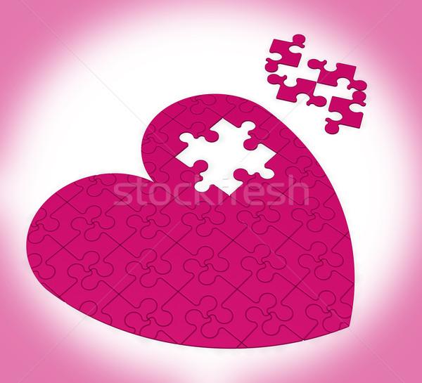 Befejezetlen szív puzzle mutat boldogság szeretet Stock fotó © stuartmiles
