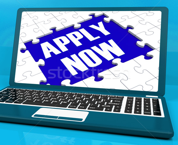 Apply Now On Laptop Showing Online Applications Stock photo © stuartmiles