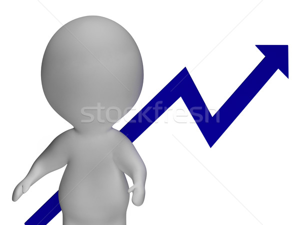 Profit Increase Graph And 3d Character Shows Market Gains Stock photo © stuartmiles