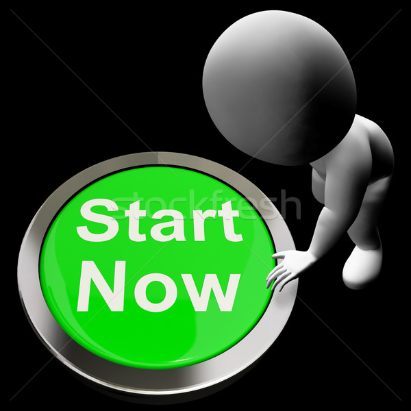 Start Now Button Means To Commence Immediately Stock photo © stuartmiles