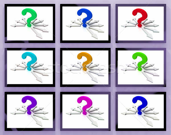 Question Marks On Monitors Showing Asked Questions Stock photo © stuartmiles