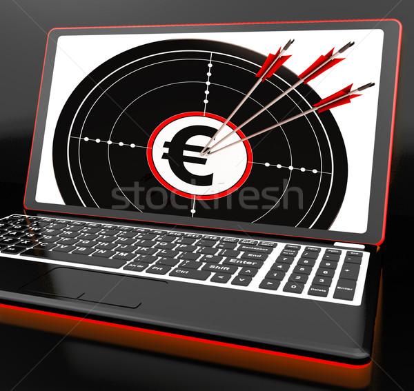 Euros símbolo portátil ganancias europeo moneda Foto stock © stuartmiles