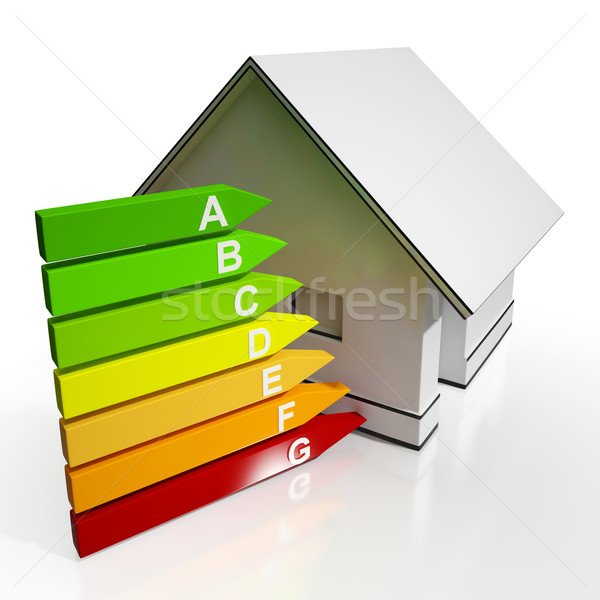 Stock photo: Energy Efficiency Rating And House Shows Conservation