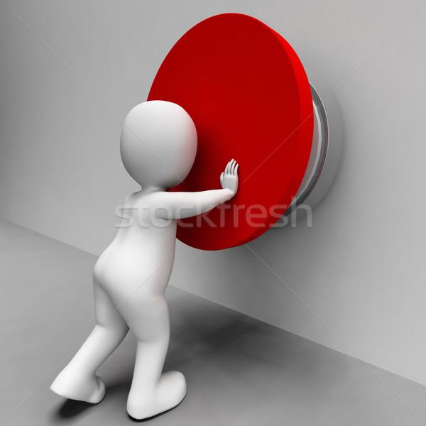 Man Pushing Button Shows Controlling Stock photo © stuartmiles