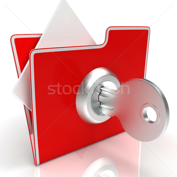 File With Key Shows Secure And Classified Stock photo © stuartmiles
