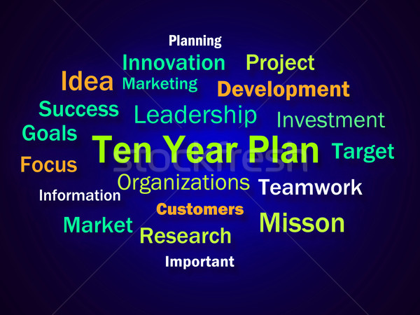 Ten Year Plan Brainstorm Means Company Schedule For 10 Years Stock photo © stuartmiles