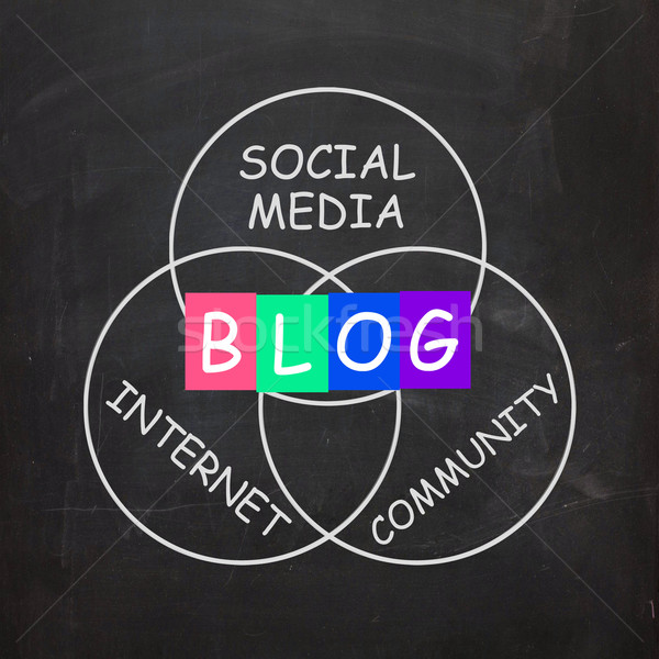 Blog Means Online Journal or Social Media in Internet Community Stock photo © stuartmiles