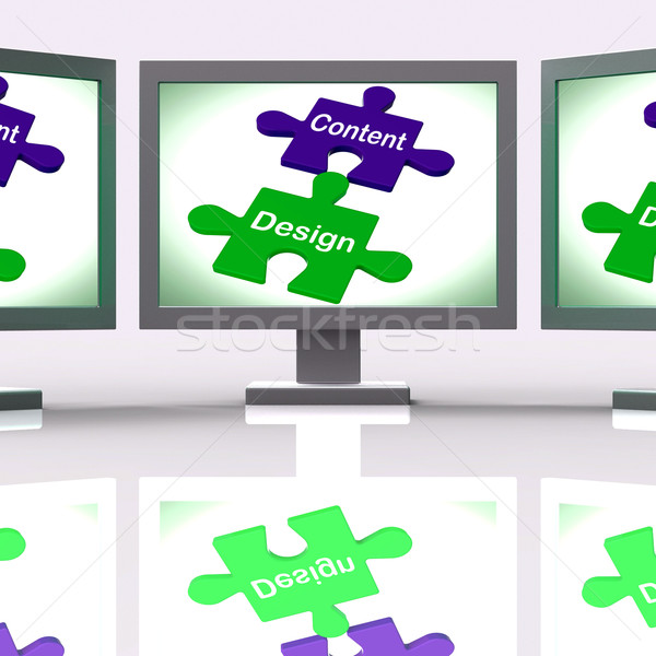 Content Design Puzzle Screen Shows Promotional Material And Layo Stock photo © stuartmiles