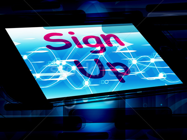 Stock photo: Sign Up On Screen Shows Join Membership Register