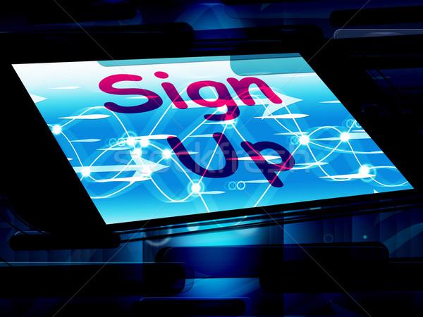 Teken omhoog scherm lidmaatschap tonen Stockfoto © stuartmiles