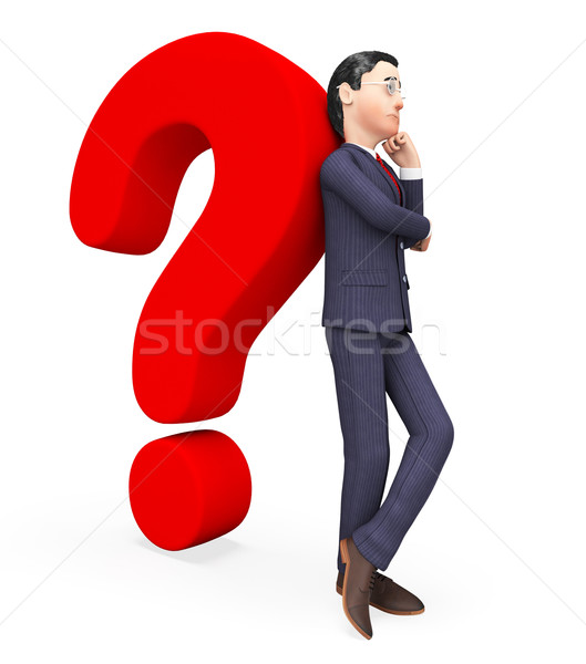 Confused Businessman Shows Frequently Asked Questions And Answer Stock photo © stuartmiles