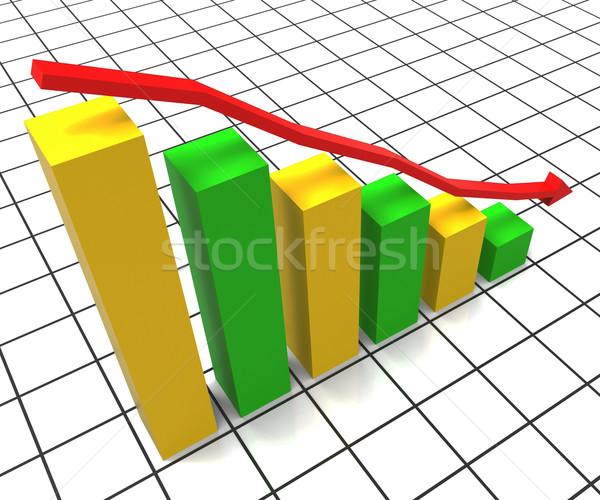 Decreasing Report Represents Business Graph And Decrease Stock photo © stuartmiles