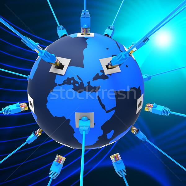 Világszerte hálózat weboldal kapcsolat globális kommunikáció Föld Stock fotó © stuartmiles