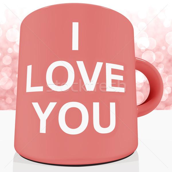 I Love You Mug With Bokeh Background Showing Romance And Valenti Stock photo © stuartmiles