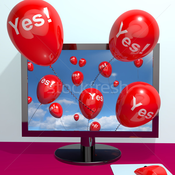 Yes Balloons From A Computer Showing Approval And Support Messag Stock photo © stuartmiles