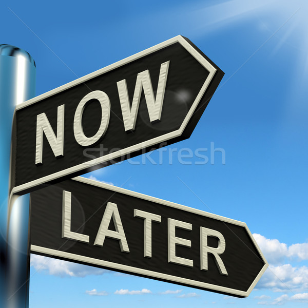 Now Or Later Signpost Showing Delay Deadlines And Urgency Stock photo © stuartmiles