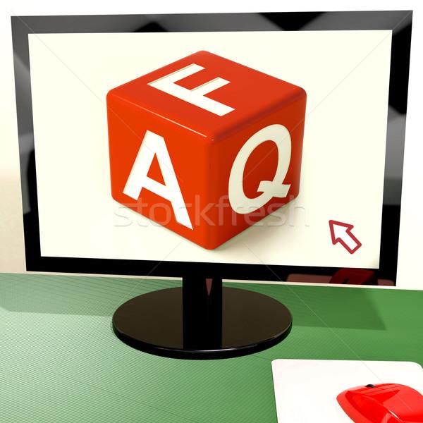 Faq Dice On Computer Screen Showing Online Help Stock photo © stuartmiles