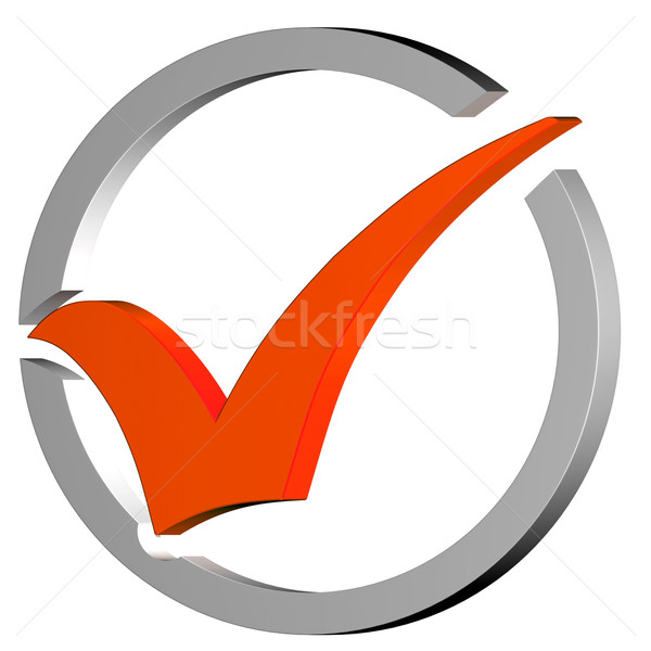 Orange Tick Circled Shows Quality And Excellence Stock photo © stuartmiles