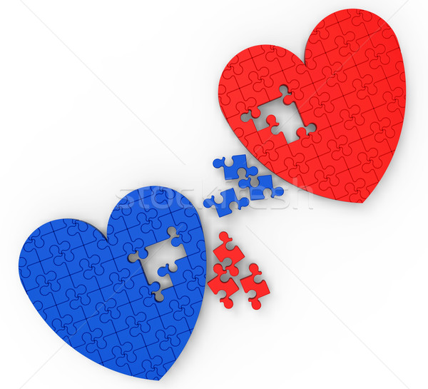 Two Hearts Puzzle Shows Engagement And Wedding Stock photo © stuartmiles