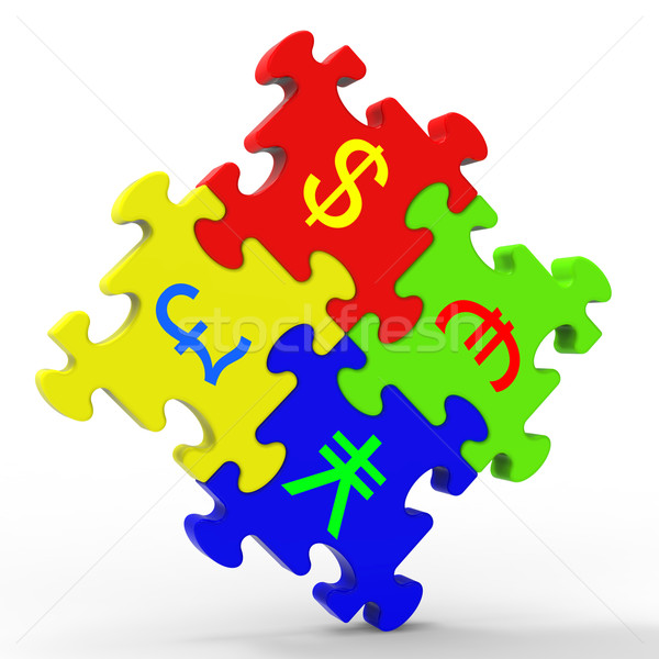 Currency Symbols Puzzle Shows Global Investment Stock photo © stuartmiles