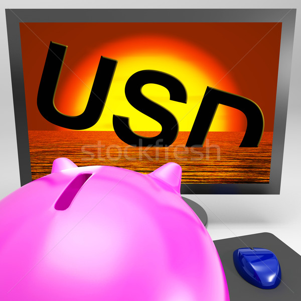 USD Sinking On Monitor Showing American Debts Stock photo © stuartmiles