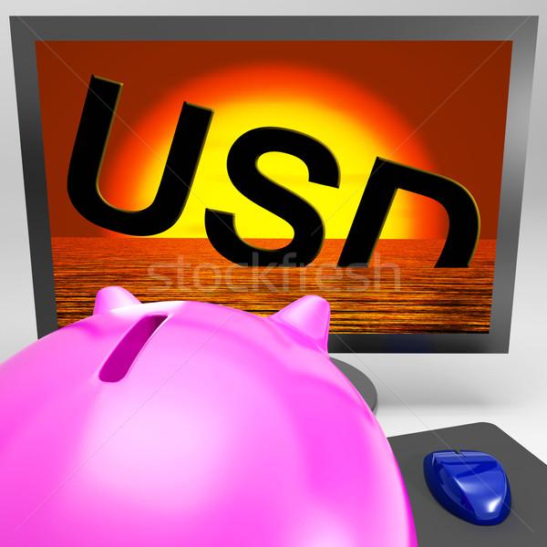 Usd zinken monitor tonen amerikaanse schulden Stockfoto © stuartmiles