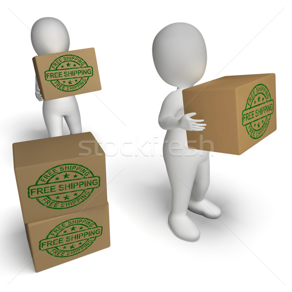 Free Shipping Stamp On Boxes Showing No Charge To Deliver Stock photo © stuartmiles