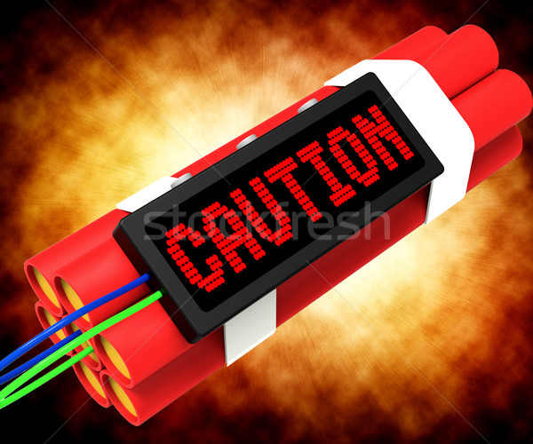 Caution Dynamite Sign Means Danger Or Warning Stock photo © stuartmiles