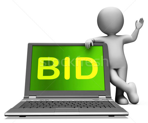 Bid Laptop And Character Shows Bidder Bidding Or Auctions Online Stock photo © stuartmiles