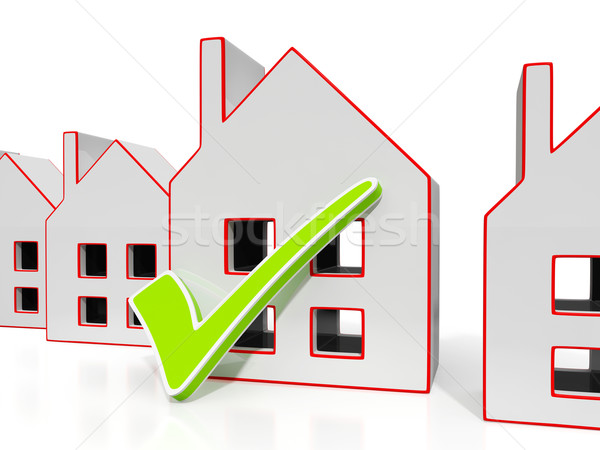 House Icons With Tick Showing House For Sale Stock photo © stuartmiles