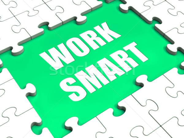 Work Smart Puzzle Shows Intelligent Clever Worker Stock photo © stuartmiles