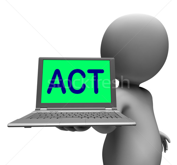 Act Laptop Character Shows Motivation Inspire Or Performing Stock photo © stuartmiles