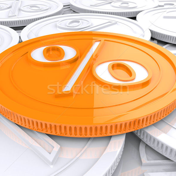 Percentage Coin Shows Interest  Earn Or Owed Stock photo © stuartmiles