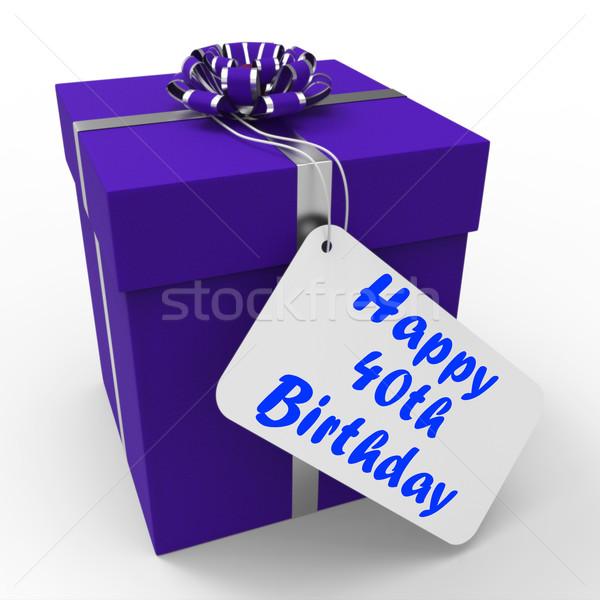 Heureux anniversaire cadeau âge quarante Photo stock © stuartmiles
