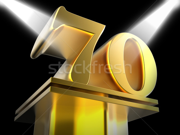 Golden Seventy On Pedestal Means Honourable Mention Or Excellenc Stock photo © stuartmiles