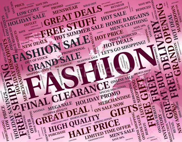 Moda słowo tendencja ubrania szorty słowa Zdjęcia stock © stuartmiles