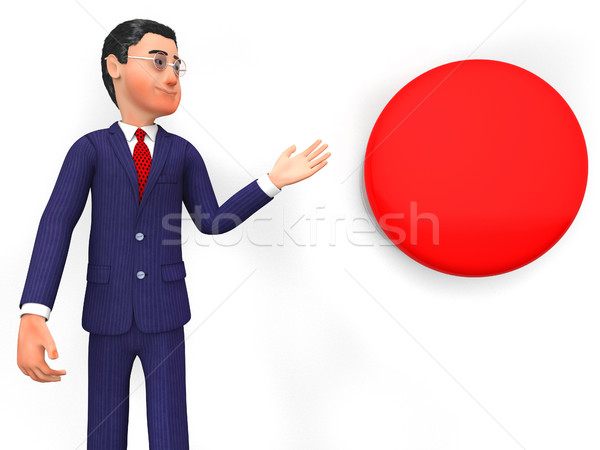 Businessman Beside Button Represents Stop Sign And Biz Stock photo © stuartmiles