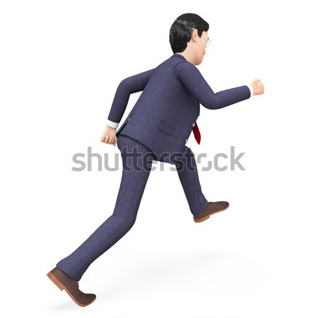Businessman Walks Quickly Represents Fast Track And Action Stock photo © stuartmiles