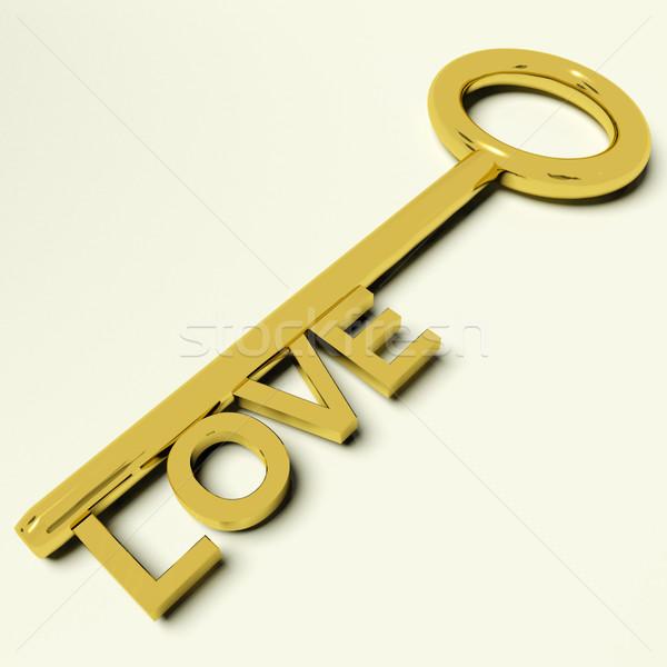 Miłości kluczowych uczucia złota ślub Zdjęcia stock © stuartmiles