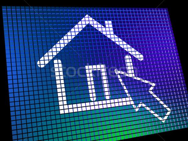 Otthon szimbólum számítógépmonitor mutat ingatlan bérlet Stock fotó © stuartmiles