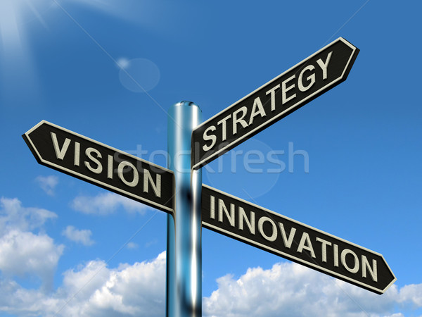 Vision Strategy Innovation Signpost Showing Business Leadership Stock photo © stuartmiles