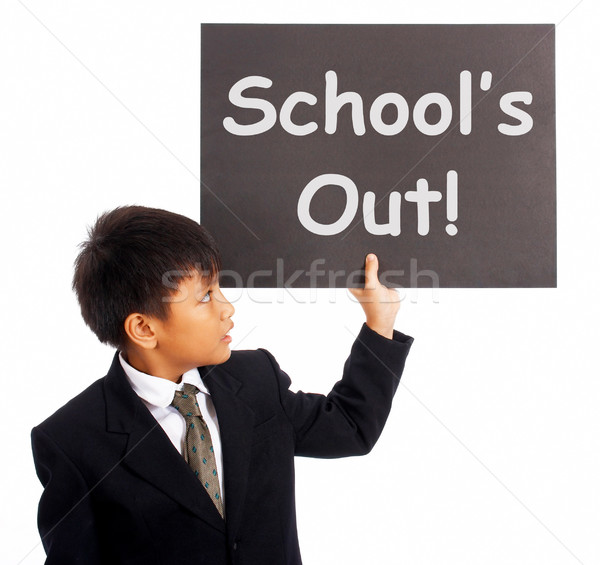 School's Out Sign Shows Holiday From Classes Stock photo © stuartmiles