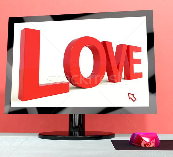 Love Word On Computer Screen Showing Online Dating Stock photo © stuartmiles