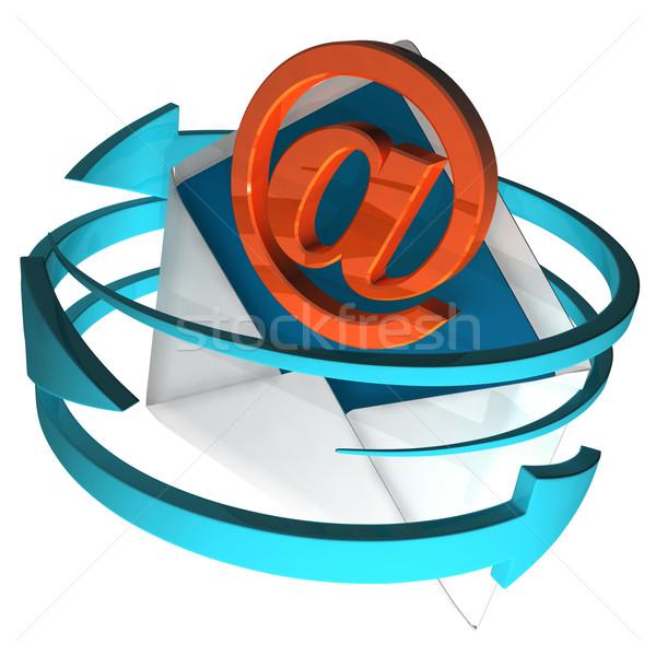 At Sign On Envelope Shows E-mail Stock photo © stuartmiles