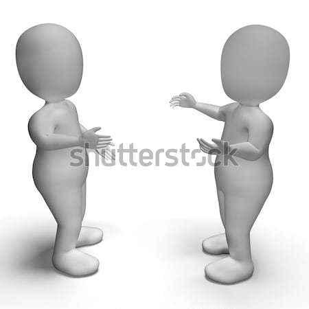 Conversation Between Two 3d Characters Showing Communication  Stock photo © stuartmiles