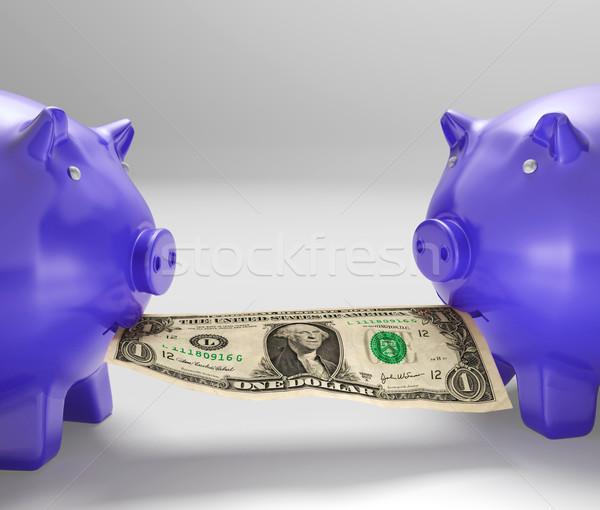Piggybanks Eating Money Showing Financial Counselling Stock photo © stuartmiles